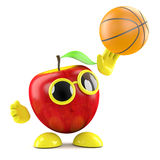 3d Apple throws a basketball. 3d render of an apple throwing a basketball Stock Photos