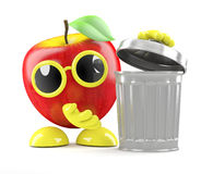 3d Apple throws out the trash. 3d render of an apple with a trashcan Royalty Free Stock Photos
