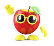 3d Apple waves hello. 3d render of an apple waving hello Royalty Free Stock Photography