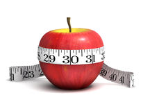 3d Apple weight loss. 3d render of an apple with a tape measure wrapped round it Stock Image