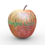 3d apple weight loss wordcloud tags. 3d rendering of fresh apple presentation of weight loss wordcloud word tags concept Stock Image