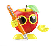3d Apple writes with a pen Stock Photos