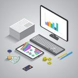 3d applicazione mobile isometrica piana, affare Illustrazione Vettoriale