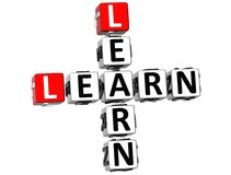 3D apprennent apprennent des mots croisé Photo libre de droits