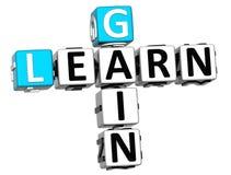 3D apprennent des mots croisé de gain Image stock