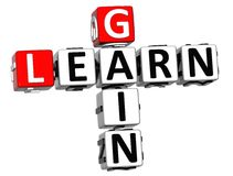 3D apprennent des mots croisé de gain illustration libre de droits