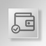 3D approve wallet icon Business Concept Stock Photo