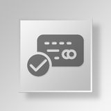 3D Approved Credit Card icon Business Concept. 3D Symbol Gray Square Approved Credit Card icon Business Concept Stock Photos