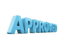 3D Approved. Approved icon on a white background. 3D illustration Stock Photo