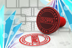 3d approved stamp illustration Stock Image