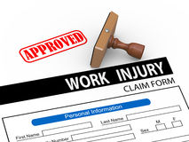 3d approved work injury compensation claim form. 3d illustration of rubber stamp and approve work injury claim form Stock Image