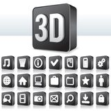 3D Apps Icon Technology Pictogram on Square Button. 3D Apps Icon. Collection of Technology Pictogram on Square Buttons Royalty Free Stock Photography