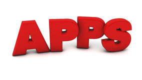 3d apps illustration. Apps in red on white background Royalty Free Stock Photo