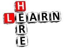 3D aprendem aqui palavras cruzadas Fotografia de Stock Royalty Free