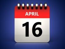 3d 16 april calendar. 3d illustration of 16 april calendar over blue background Stock Images