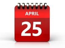 3d 25 april calendar. 3d illustration of april 25 calendar over white background Royalty Free Stock Photography