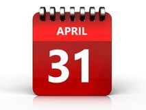 3d 31 april calendar. 3d illustration of april 31 calendar over white background Stock Image