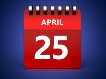 3d 25 april calendar. 3d illustration of april 25 calendar over blue background Stock Photography