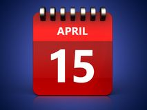 3d 15 april calendar. 3d illustration of april 15 calendar over blue background Stock Photo