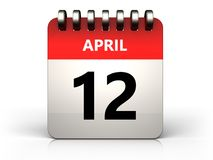 3d 12 april calendar. 3d illustration of 12 april calendar over white background Royalty Free Stock Images