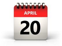 3d 20 april calendar. 3d illustration of 20 april calendar over white background Royalty Free Stock Image