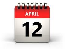 3d 12 april-kalender Royalty-vrije Stock Afbeeldingen