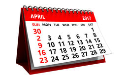 3d april-kalender Royalty-vrije Stock Afbeeldingen