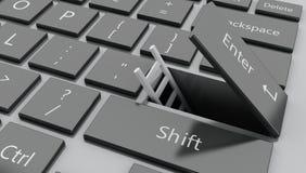3d aprono il bottone del entet con la scala che esce Immagine Stock