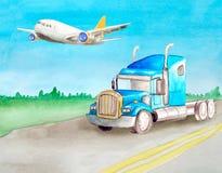 D'aquarelle d'Américain tracteur bleu de camion semi sans tours d'un conteneur sur une route goudronnée contre le contexte du pay illustration de vecteur