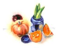 D'aquarelle toujours la vie avec des légumes Photos stock