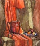 D'aquarelle toujours la vie avec le broc et le fruit sur un fond de draper orange illustration stock