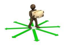 3D例证,布朗小雕象、小包送货员和绿色ar 库存图片