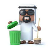 3d Arab cleans up. 3d render of an Arab with a broom and green trash can Royalty Free Stock Photos