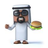 3d Arab eats a beefburger Royalty Free Stock Photography