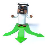3d Arab has a choice. 3d render of an Arab standing on a three pronged arrow symbol in green Royalty Free Stock Image