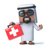 3d Arab has a first aid kit. 3d render of an Arab holding a first aid kit Stock Images