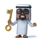 3d Arab has the gold key Royalty Free Stock Images
