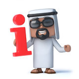 3d Arab has information. 3d render of an Arab holding an information symbol Royalty Free Stock Image