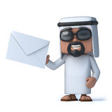 3d Arab has mail. 3d render of an Arab holding an envelope Royalty Free Stock Image