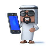 3d Arab has a new smartphone. 3d render of an Arab holding a smartphone Royalty Free Stock Photography