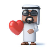 3d Arab holding a red heart Stock Photos