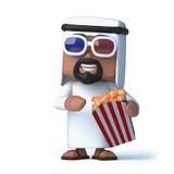 3d arab ogląda 3d film podczas gdy jedzący popkorn Fotografia Stock