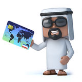 3d Arab pays with a credit card. 3d render of an Arab holding a credit card Stock Images