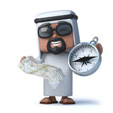 3d Arab sheik is finding his way. 3d render of an Arab sheik holding a map and compass Royalty Free Stock Photo