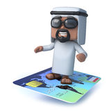 3d Arab sheik flies on a credit card Stock Photo