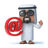3d Arab sheik holds an email address symbol. 3d render of an Arab sheik holding an email address symbol Stock Photos