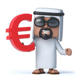 3d Arab sheik holds Euro symbol Stock Photography