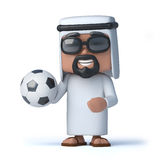 3d Arab sheik holds a football. 3d render of an Arab sheik holding a soccer ball Royalty Free Stock Image