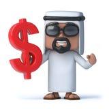 3d Arab sheik holds US Dollar symbol. 3d render of an Arab sheik holding a US dollar symbol Royalty Free Stock Images
