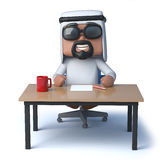 3d Arab sheik sits at a desk Royalty Free Stock Images